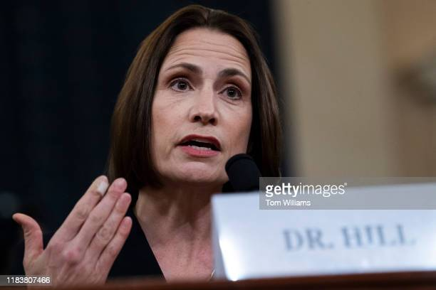 Fiona Hill former National Security Council Russia adviser testifies during the House Intelligence Committee hearing on the impeachment inquiry of...