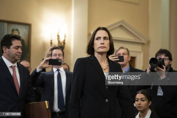 Fiona Hill former National Security Council Russia expert arrives for a House Intelligence Committee impeachment inquiry hearing in Washington DC US...