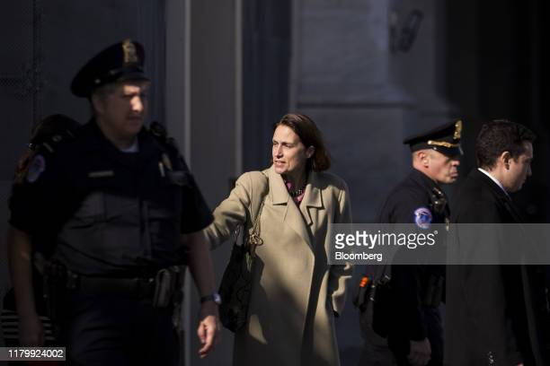 Fiona Hill former National Security Council Russia expert center departs after closeddoor testimony before House committees on Capitol Hill in...