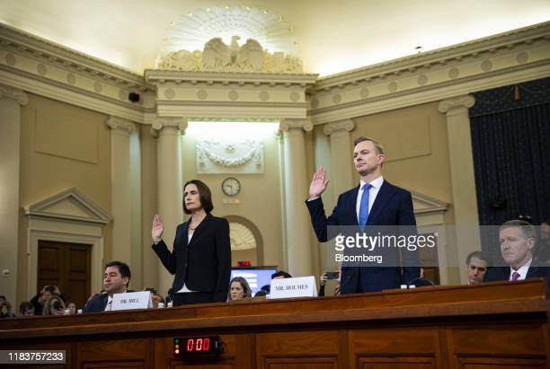 Fiona Hill former National Security Council Russia expert left and David Holmes counselor for political affairs at the US Embassy in Ukraine swear in...