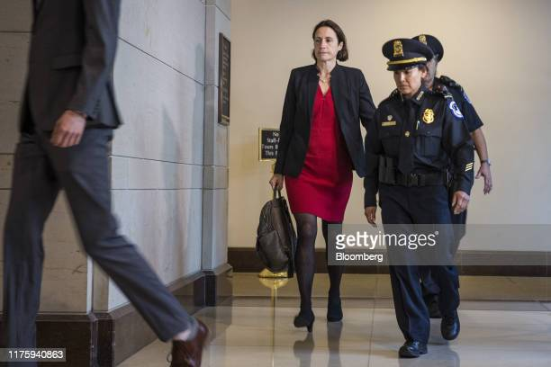 Fiona Hill former National Security Council Russia expert left arrives for closeddoor testimony before House committees on Capitol Hill in Washington...
