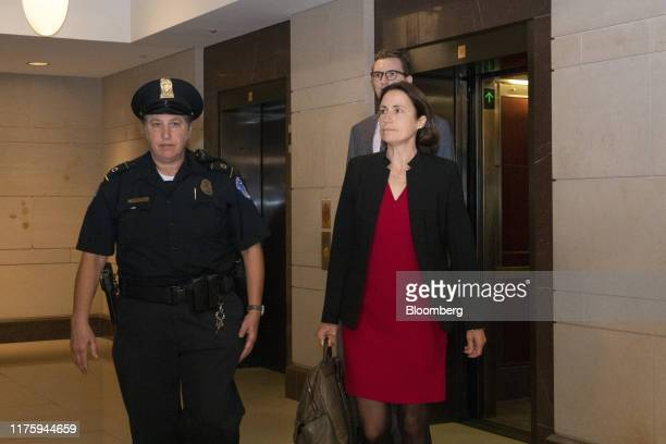 Fiona Hill former National Security Council Russia expert right arrives for closeddoor testimony before House committees on Capitol Hill in...