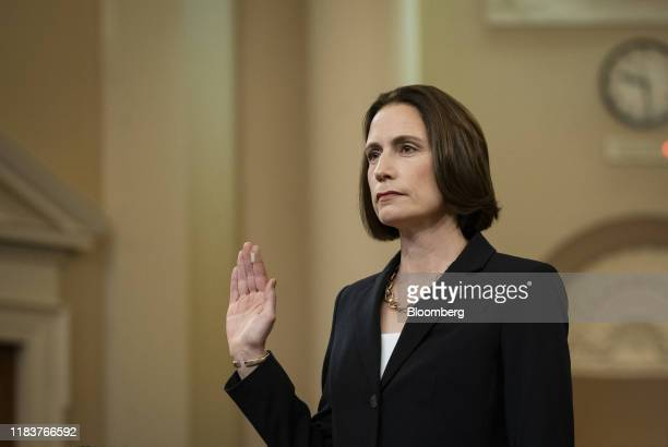 Fiona Hill former National Security Council Russia expert swears in to a House Intelligence Committee impeachment inquiry hearing in Washington DC US...