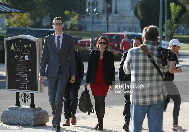 Fiona Hill former senior director for European and Russian affairs on the National Security Council arrives on Capitol Hill for a hearing at the US...