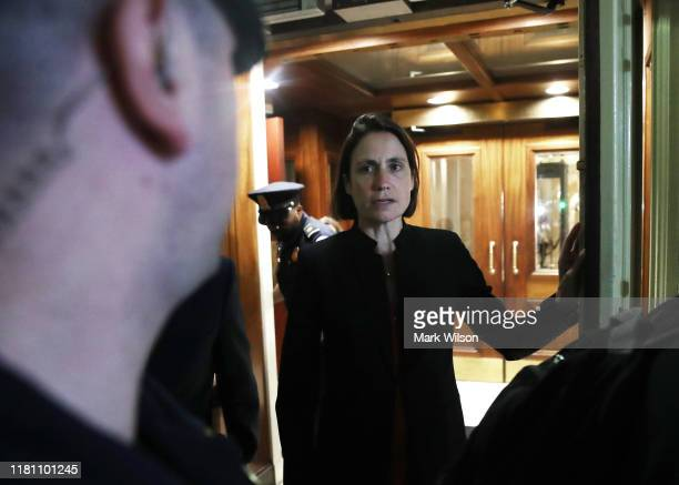 Fiona Hill former senior director for European and Russian affairs on the National Security Council walks out of the US Capitol after a closed door...