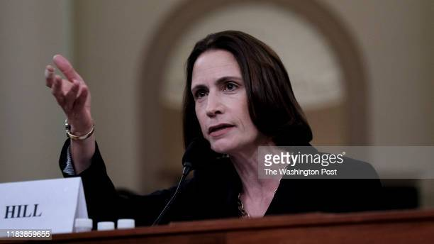 Fiona Hill former top Russia advisor to the White House provides testimony in the impeachment inquiry of President Trump in Washington DC on November...