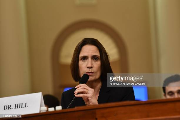 Fiona Hill the former top Russia expert on the National Security Council listens as she testifies during the House Intelligence Committee hearing as...