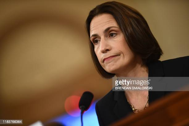 Fiona Hill the former top Russia expert on the National Security Council testifies during the House Intelligence Committee hearing as part of the...
