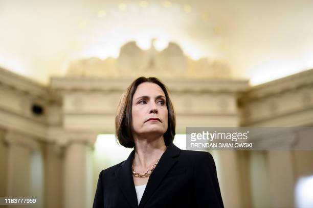 Fiona Hill the former top Russia expert on the National Security Council arrives to testify during the House Intelligence Committee hearing as part...