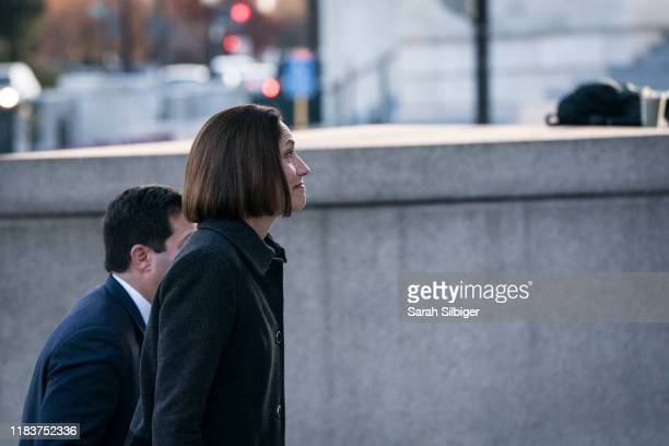 Fiona Hill the National Security Council's former senior director for Europe and Russia arrives to Longworth House Office Building to testify before...