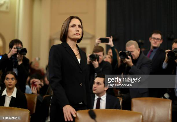 Fiona Hill the National Security Council's former senior director for Europe and Russia arrives to testify before the House Intelligence Committee in...