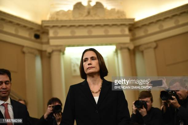 Fiona Hill the National Security Council's former senior director for Europe and Russia arrives to testify during the House Intelligence Committee...