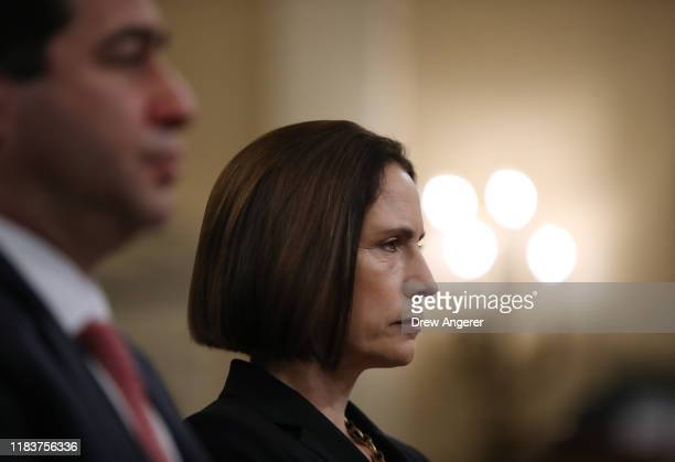 Fiona Hill the National Security Council's former senior director for Europe and Russia waits to testify before the House Intelligence Committee in...