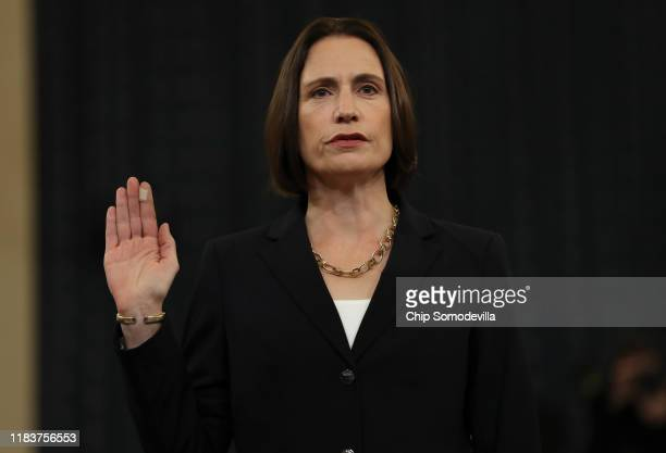 Fiona Hill the National Security Council's former senior director for Europe and Russia is sworn in to testify before the House Intelligence...