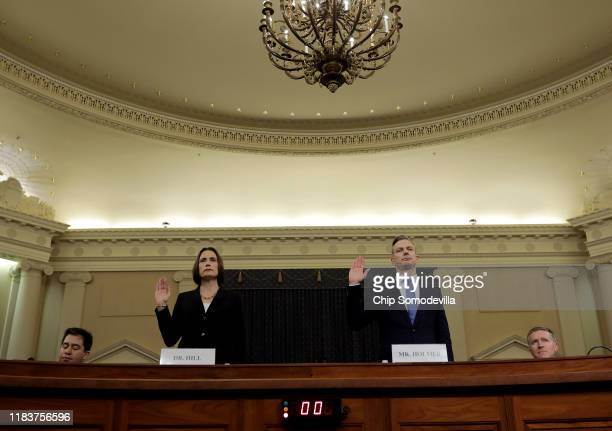 Fiona Hill the National Security Council's former senior director for Europe and Russia and David Holmes an official from the American Embassy in...