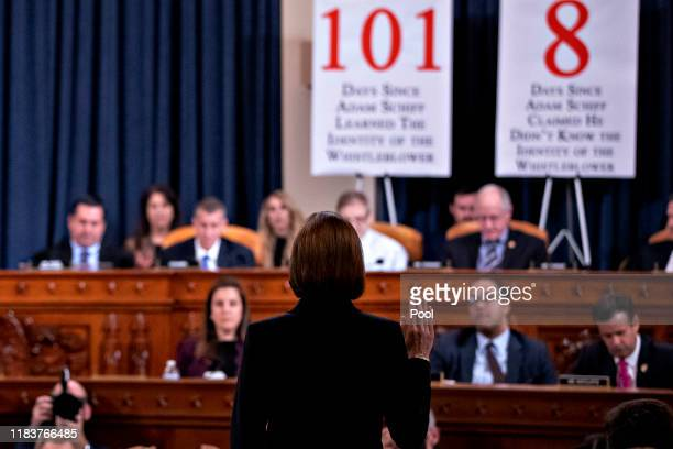 Fiona Hill the National Security Council's former senior director for Europe and Russia is sworn in prior to testifying before the House Intelligence...