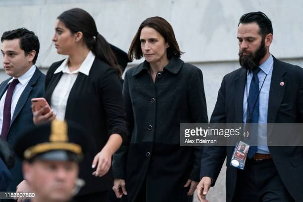 Fiona Hill the National Security Council's former senior director for Europe and Russia departs following her testimony before the House Intelligence...