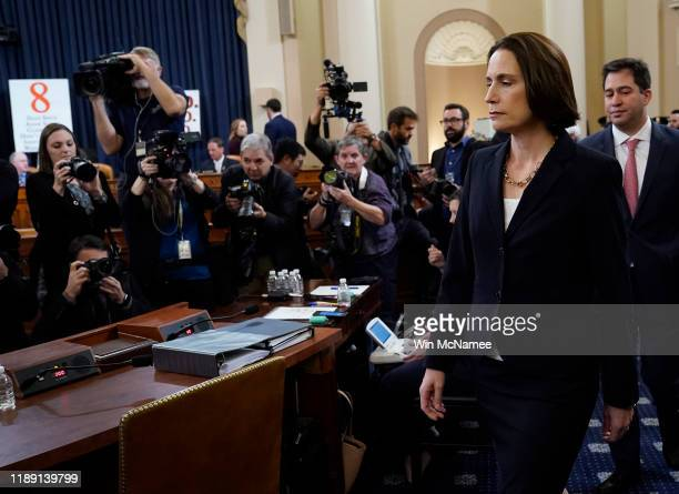 Fiona Hill the National Security Council's former senior director for Europe and Russia arrives for testimony before the House Intelligence Committee...