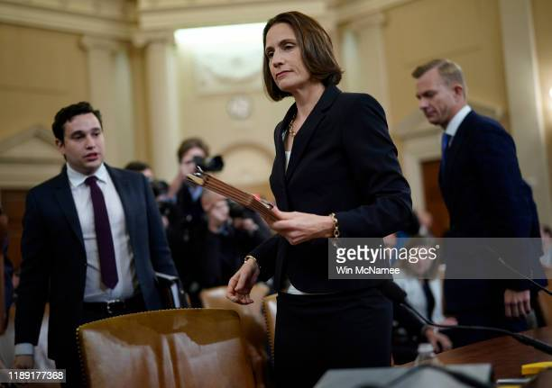 Fiona Hill the National Security Council's former senior director for Europe and Russia departs during a break while testifying before the House...