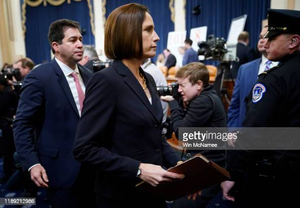 Fiona Hill the National Security Council's former senior director for Europe and Russia departs an impeachment hearing held by the House Intelligence...