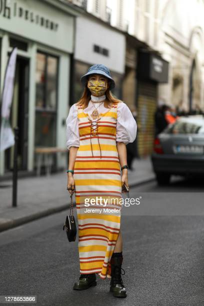 Fiona Kim seen outside Paco Rabanne during Paris Fashion Week - Womenswear Spring Summer 2021 : Day Seven on October 04, 2020 in Paris, France.