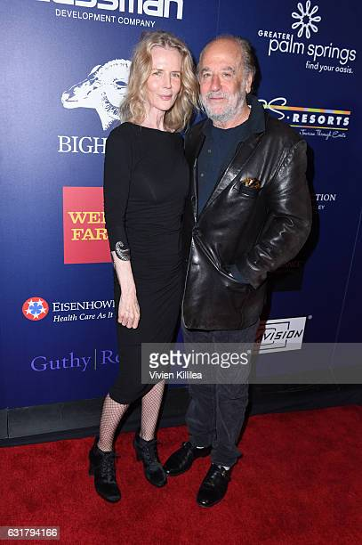 Fiona Lewis and producer Art Linson attend the Closing Night Screening of The Comedian at the 28th Annual Palm Springs International Film Festival on...