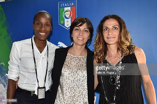 Fiona May Francesca Sanzone and Patrizia Panico pose at Casa Azzurri On Tour on June 22 2016 in LIlle France Photo by Tullio M Puglia/Getty Images