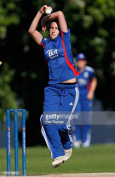Fiona Morris of England Academy bowls during the friendly T20 cricket match between England and England Academy at Loughborough University on...