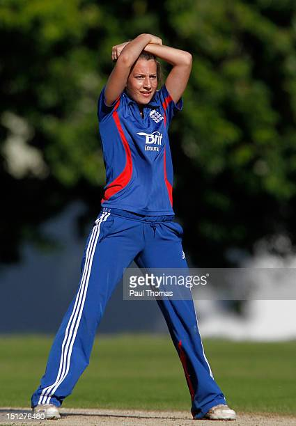 Fiona Morris of England Academy reacts after a wicket chance during the friendly T20 cricket match between England and England Academy at...