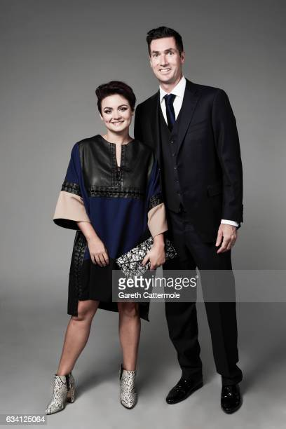 Fiona O'Carroll and husband Martin Delany attend the National Television Awards Portrait Studio at The O2 Arena on January 25 2017 in London England