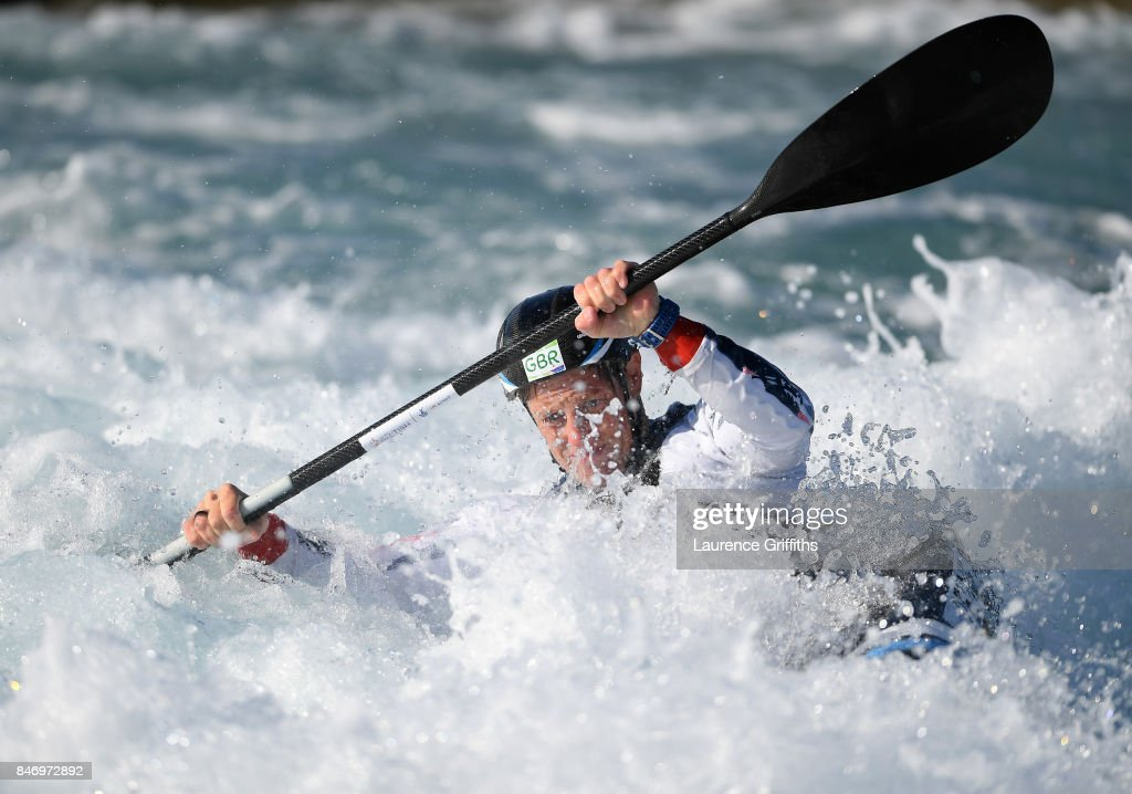 Fiona Pennie of Great Britain trains in the Kayak Single (K1) at Lee Valley White Water Centre on September 13, 2017 in London, England.