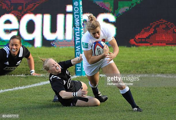 Fiona Pocock of England goes over to score the opening try during the Old Mutual Wealth Series Women's match between England and New Zealand at the...