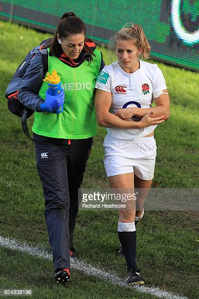 Fiona Pocock of England leaves the pitch due to injury during the Old Mutual Wealth Series Women's match between England and New Zealand at the...