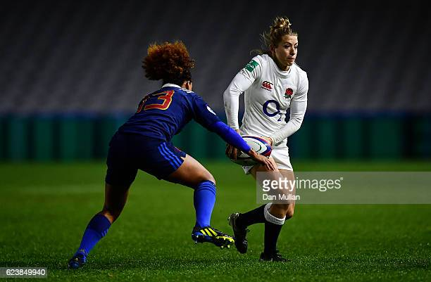 Fiona Pocock of England takes on Rose Thomas of France during the Old Mutual Wealth Series match between England Women and France Women at Twickenham...