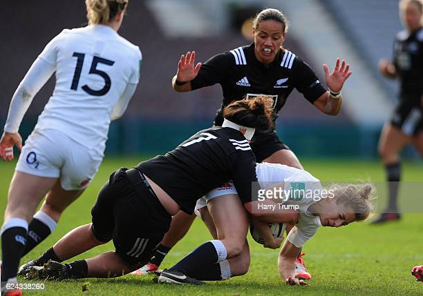 Fiona Pocock of England Women is tackled by Charmaine McMenamin of New Zealand Women during the Old Mutual Wealth Series match between England Women...