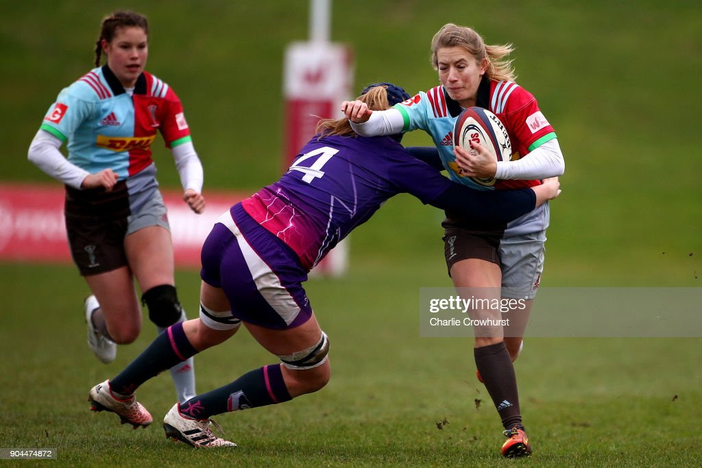 Fiona Pocock of Harelquins attacks during the Harlequins Ladies v Loughborough Lightning Tyrrells Premier 15s match at Surrey Sports Park on January 13, 2018 in Guildford, England.