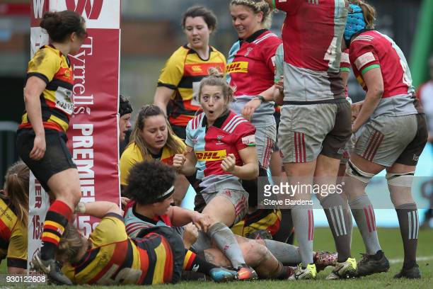 Fiona Pocock of Harlequins Ladies celebrates the try scored by Chloe Edwards during the Harlequins Ladies v Richmond FC Tyrrells Premier 15s match at...