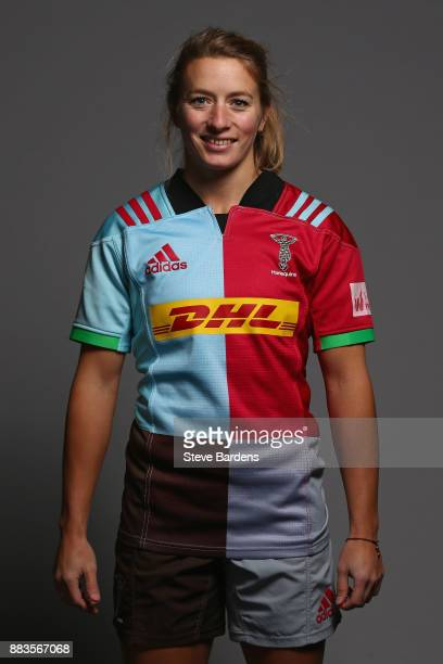 Fiona Pocock poses for a portrait during the Harlequins Ladies Squad Photo call for the 2017/18 Tyrrells Premier 15s Season at Surrey Sports Park on...