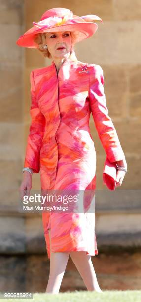 Fiona Shackleton attends the wedding of Prince Harry to Ms Meghan Markle at St George's Chapel Windsor Castle on May 19 2018 in Windsor England...