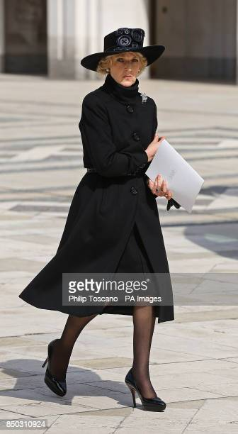 Fiona Shackleton leaving the Guildhall after a reception of friends and family of Baroness Thatcher hosted by the City of London Corporation...