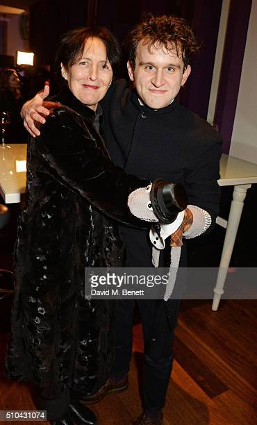 Fiona Shaw and cast member Harry Melling attend the press night after party of Hand To God at the Trafalgar Hotel on February 15 2016 in London...