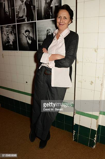 Fiona Shaw attends the press night after party of If You Kiss Me Kiss Me at The Young Vic Theatre on March 16 2016 in London England