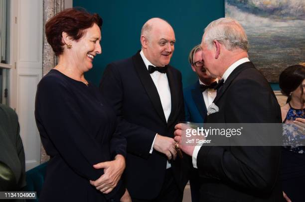 Fiona Shaw Dara O'Briain and Prince Charles Prince of Wales attend a dinner to mark St Patrick's Day and celebrate UKIrish relations on March 06 2019...