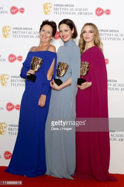 Fiona Shaw Phoebe WallerBridge and Jodie Comer celebrate their Awards at the Virgin Media British Academy Television Awards 2019 at The Royal...