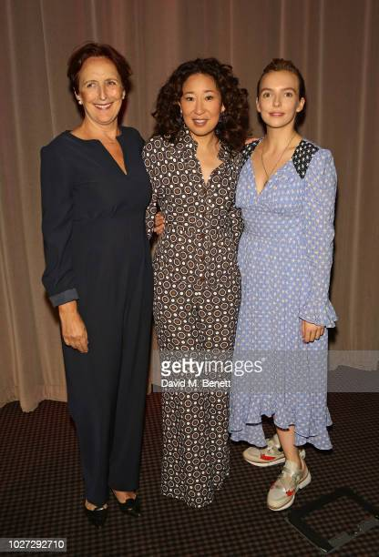 Fiona Shaw Sandra Oh and Jodie Comer attend a special screening of the BBC's new drama Killing Eve at BAFTA Piccadilly on September 5 2018 in London...
