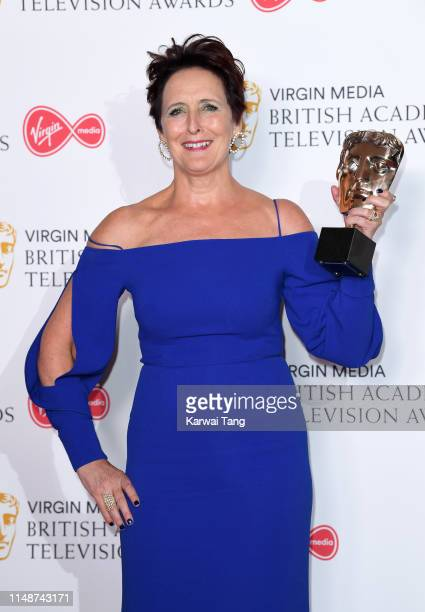 Fiona Shaw winner of the Supporting Actress award for 'Killing Eve' poses in the Press Room at the Virgin TV BAFTA Television Award at The Royal...