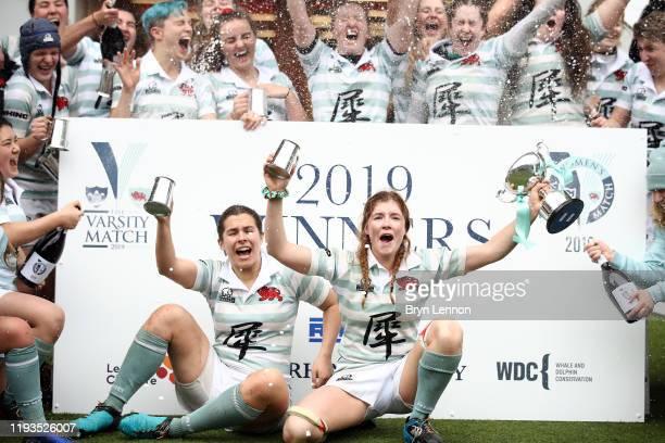Fiona Shuttleworth and her Cambridge team celebrate winning the Women's Varsity Game between Oxford and Cambridge at Twickenham Stadium on December...