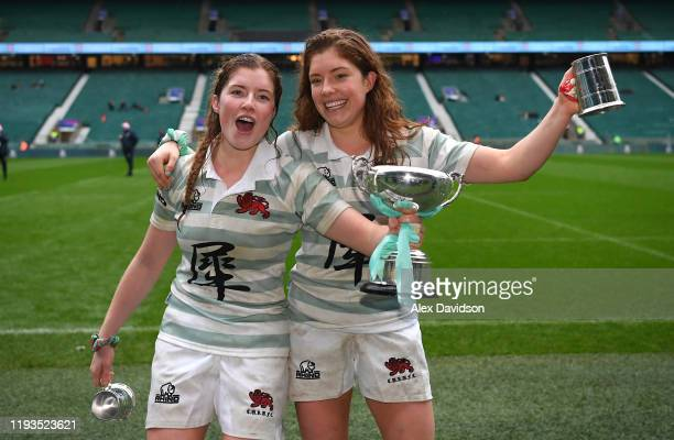Fiona Shuttleworth and Jenni Shuttleworth of Cambridge celebrate after their teams victory in the Oxford University vs Cambridge University Women's...