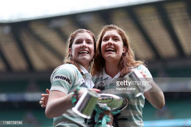 Fiona Shuttleworth and Jenni Shuttleworth of Cambridge celebrate after their teams victory in the Women's Varsity Game between Oxford and Cambridge...