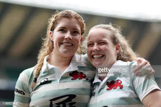 Fiona Shuttleworth celebrates with Coreen Grant of Cambridge after their teams victory in the Women's Varsity Game between Oxford and Cambridge at...